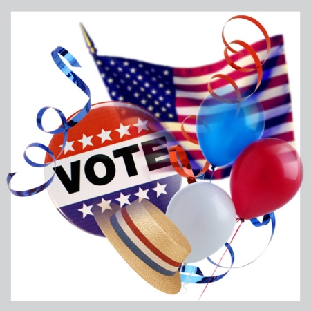 vote button along with other patriotic symbols