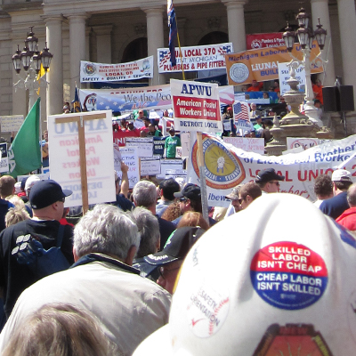 Labor Rally in Lansing - April 2011, Wikimedia Commons