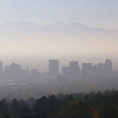 Salt Lake City smog haze skyline, Wikimedia Commons