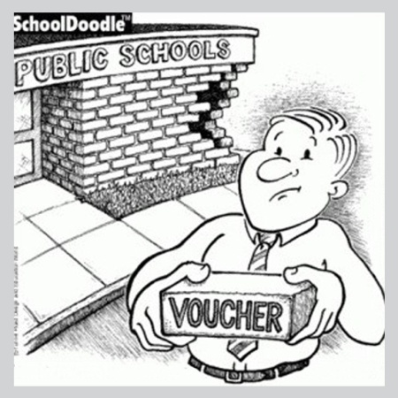 graphic showing how private school vouchers negatively impact public schools, brick by brick