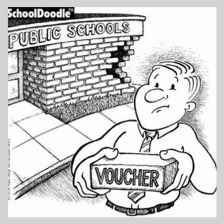 graphic showing how private school vouchers negatively impact public schools, brick by brick