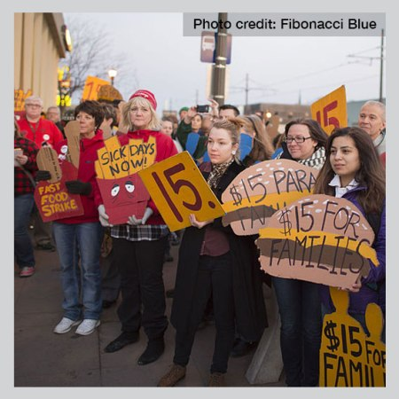 Fast food workers strike in St. Paul, MN. Photo by Fibonacci Blue.