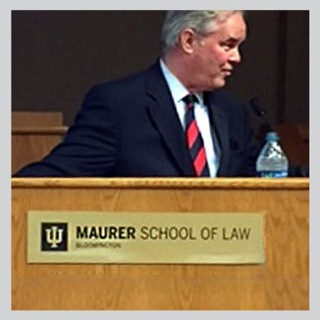 Trevor Potter delivers lecture at Maurer School of Law Indiana University Bloomington on Constitution Day, 2019.