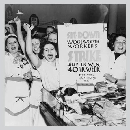 Library of Congress photo circa 1940 showing women striking for 40 hour work week