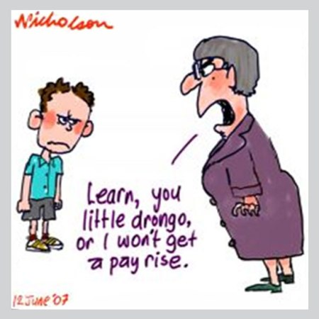 micho ison cartoon 2007, teacher pay, student evaluations