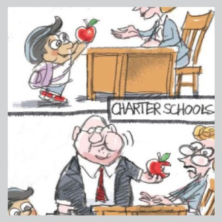 cartoon illustrates corporatization of schools