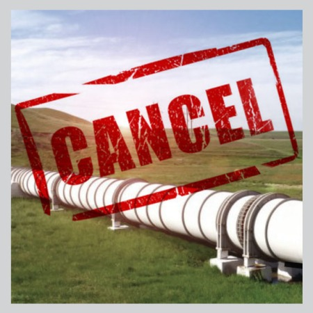 cancel stamp over pipeline photo