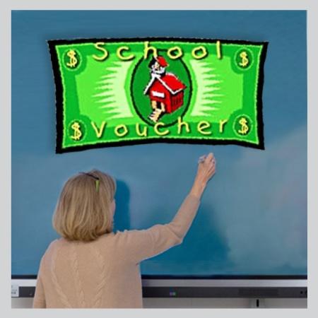 school voucher graphic with teacher